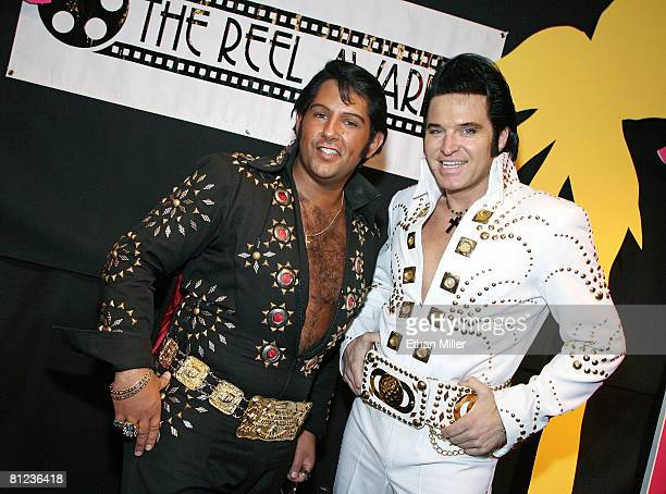 Elvis Presley impersonators Terry Schulz of Minnesota and Johnny Thompson of Nevada arrive at the 17th annual Reel Awards at the Imperial Palace...