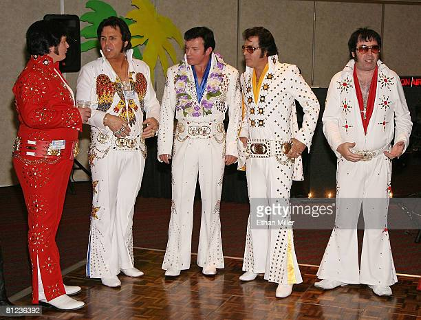 Elvis Presley impersonators wait to perform at the 17th annual Reel Awards at the Imperial Palace Hotel and Casino May 25 2008 in Las Vegas Nevada...