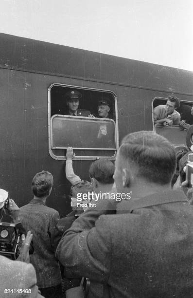 Elvis Presley looking out of the window on a train in Bremerhaven West Germany on Oktober 1 1958 He was 23 years old It was his first trip beyond...