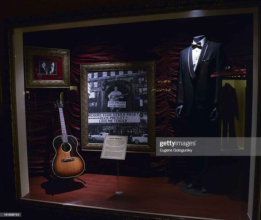 Elvis Presley memorabilia at the 'Gone Too Soon' and 'Music Gives Back' Media Preview Day at the Hard Rock Cafe, Times Square on February 13, 2013 in New York City.