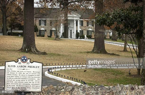 Elvis Presley's Graceland estate is seen December 16 2004 in Memphis Tennessee Robert FX Sillerman and Elvis Presley Enterprises announced December...