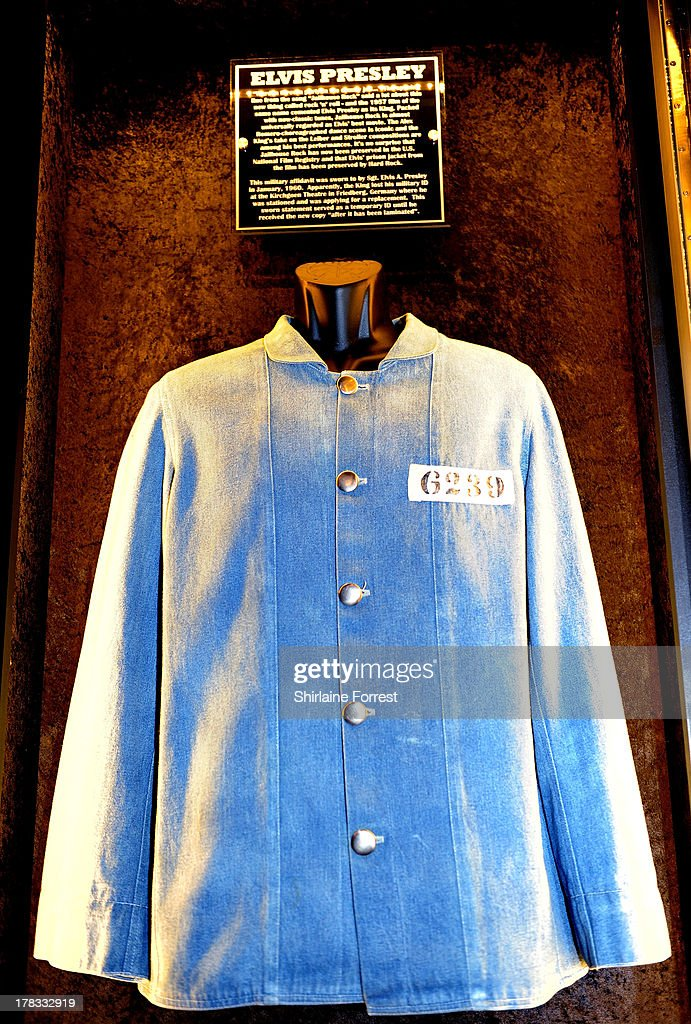 Elvis Presley's jacket as worn in the film 'Jailhouse Rock' is displayed as part of Hard Rock Cafe's Hard Rock Couture exhibition on August 29, 2013 in Manchester, England.