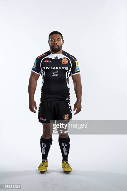 Elvis Taione of Exeter Chiefs poses for a picture during the BT Photo Shoot at Sandy Park on August 26 2014 in Exeter England