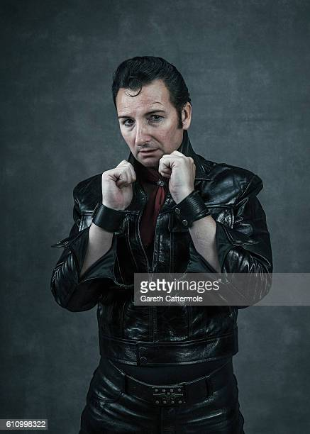 Elvis tribute artist Dean Hannomd poses at the Grand Pavillion during a portrait session at 'The Elvies' on September 24 2016 in Porthcawl Wales 'The...