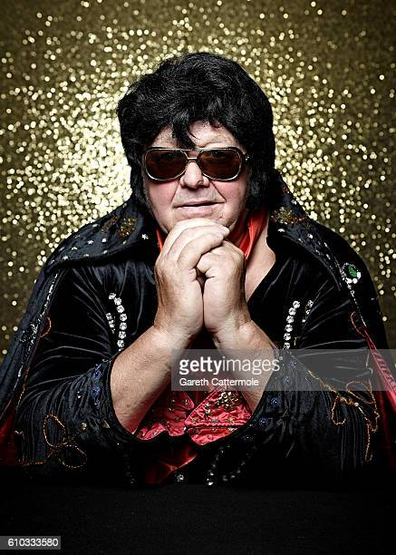 Elvis tribute artist Denis Lewis poses at the Grand Pavillion during a portrait session at 'The Elvies' on September 23 2016 in Porthcawl Wales 'The...