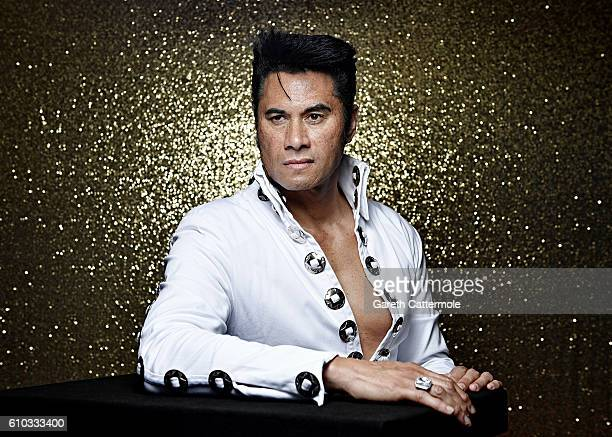 Elvis tribute artist Des Perenara poses at the Grand Pavillion during a portrait session at 'The Elvies' on September 23 2016 in Porthcawl Wales 'The...