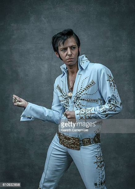 Elvis tribute artist Karl Memphis poses at the Grand Pavillion during a portrait session at 'The Elvies' on September 23 2016 in Porthcawl Wales 'The...