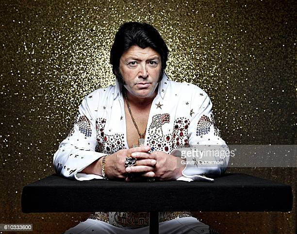 Elvis tribute artist Lee Alexander poses at the Grand Pavillion during a portrait session at 'The Elvies' on September 23 2016 in Porthcawl Wales...