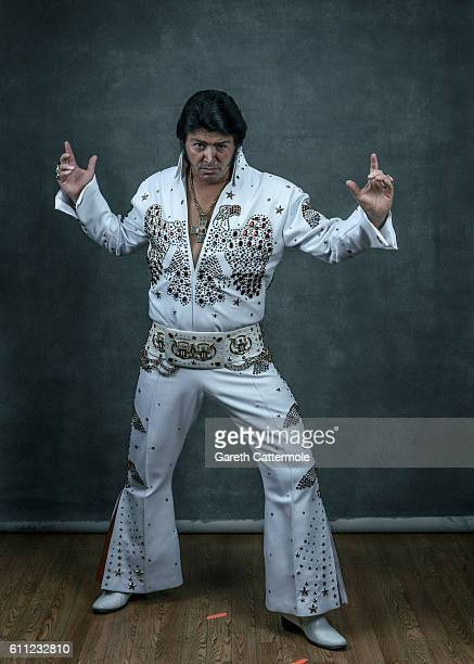 Elvis tribute artist Lee Alexander poses at the Grand Pavillion during a portrait session at 'The Elvies' on September 24 2016 in Porthcawl Wales...