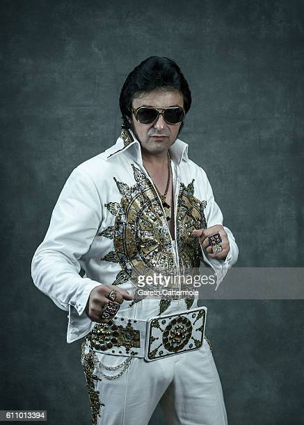 Elvis tribute artist Mario Schuh poses at the Grand Pavillion during a portrait session at 'The Elvies' on September 24 2016 in Porthcawl Wales 'The...
