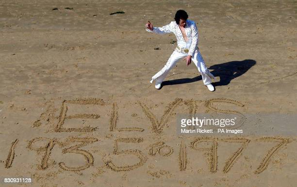 Elvis Tribute artist Michael King on the beach at Blackpool during the start of the Elvis Experience taking place at the Winter Gardens in Blackpool...
