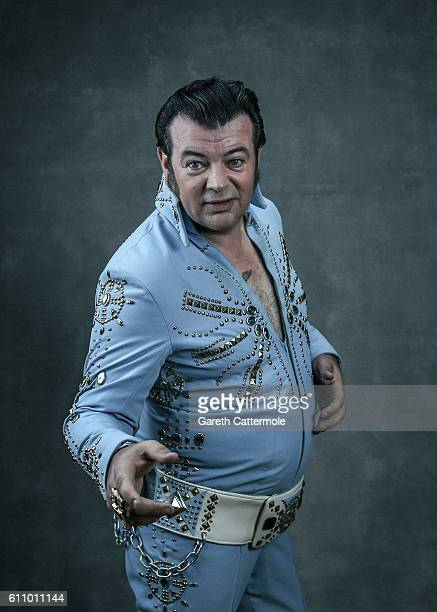 Elvis tribute artist Nigel Burchill poses at the Grand Pavillion during a portrait session at 'The Elvies' on September 24 2016 in Porthcawl Wales...