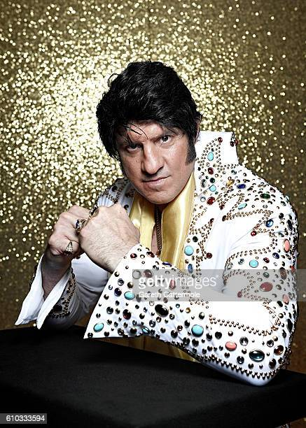 Elvis tribute artist Riccardo Vegas poses at the Grand Pavillion during a portrait session at 'The Elvies' on September 23 2016 in Porthcawl Wales...