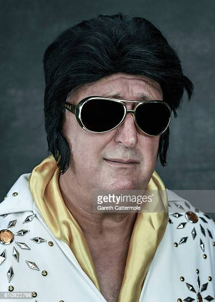 Elvis tribute artist Rick Charles poses at the Grand Pavillion during a portrait session at 'The Elvies' on September 24 2016 in Porthcawl Wales 'The...