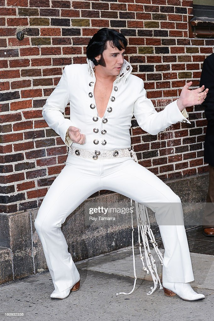 Elvis tribute artist Shawn Klush enters the 'Late Show With David Letterman' taping at the Ed Sullivan Theater on February 7, 2013 in New York City.