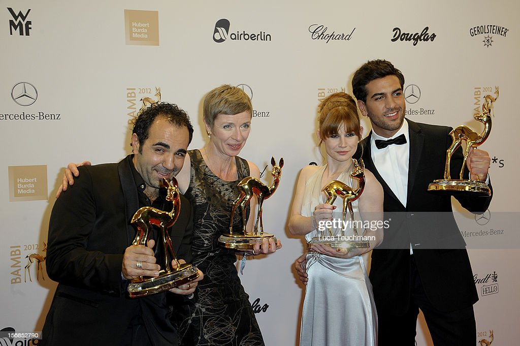 Elyas M Barek, Anna Stieblich, Josefine Preu§ and Adnan Maral poses in front of the winners board during the 'BAMBI Awards 2012' at the Stadthalle Duesseldorf on November 22, 2012 in Duesseldorf, Germany.