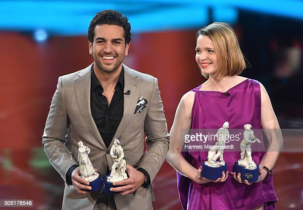 Elyas M'Barek and Karoline Herfurth during the Bavarian Film Award 2016 show at Prinzregententheater on January 15 2016 in Munich Germany
