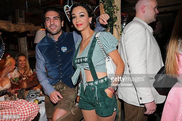Elyas M'Barek and Verona Pooth attend the Almauftrieb during the Oktoberfest 2015 at Kaeferschaenke beer tent on September 20 2015 in Munich Germany