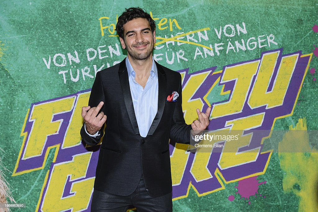 <a gi-track='captionPersonalityLinkClicked' href=/galleries/search?phrase=Elyas+M%27Barek&family=editorial&specificpeople=3967406 ng-click='$event.stopPropagation()'>Elyas M'Barek</a> attends the 'Fack Ju Gohte' Berlin Premiere at CineStar on November 2, 2013 in Berlin, Germany.