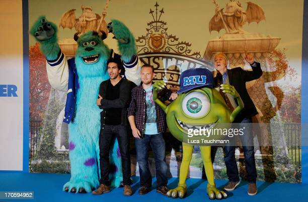 Elyas M'Barek Axel Stein and Ilja Richter attend the 'Die Monster Uni' Photocall at Ritz Carlton on June 15 2013 in Berlin Germany