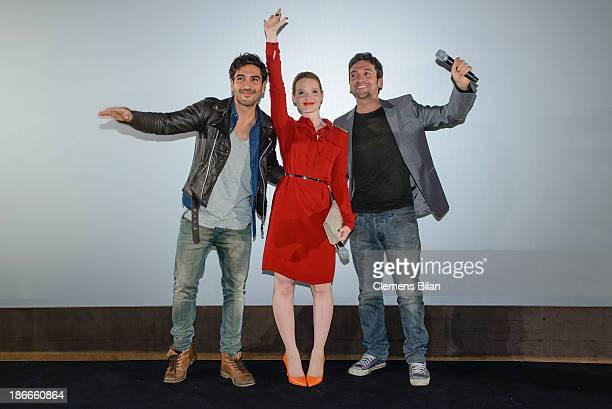 Elyas M'Barek Karoline Herfurth and Bora Dagtekin attend the 'Fack Ju Gohte' Berlin Premiere at CineStar on November 2 2013 in Berlin Germany