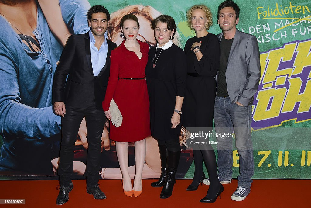 <a gi-track='captionPersonalityLinkClicked' href=/galleries/search?phrase=Elyas+M%27Barek&family=editorial&specificpeople=3967406 ng-click='$event.stopPropagation()'>Elyas M'Barek</a>, <a gi-track='captionPersonalityLinkClicked' href=/galleries/search?phrase=Karoline+Herfurth&family=editorial&specificpeople=636213 ng-click='$event.stopPropagation()'>Karoline Herfurth</a>, Kirsten Niehuus, <a gi-track='captionPersonalityLinkClicked' href=/galleries/search?phrase=Katja+Riemann&family=editorial&specificpeople=220836 ng-click='$event.stopPropagation()'>Katja Riemann</a> and Bora Dagtekin attend the 'Fack Ju Gohte' Berlin Premiere at CineStar on November 2, 2013 in Berlin, Germany.