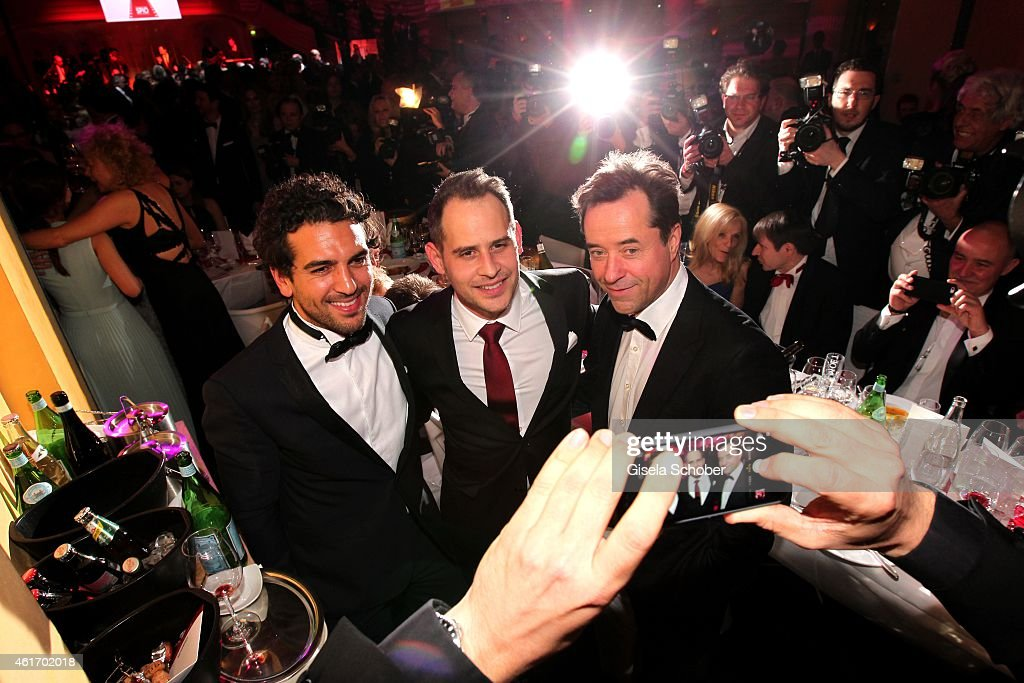 Elyas M'Barek, Moritz Bleibtreu, Jan Josef Liefers during the German Filmball 2015 at Hotel Bayerischer Hof on January 17, 2015 in Munich, Germany.