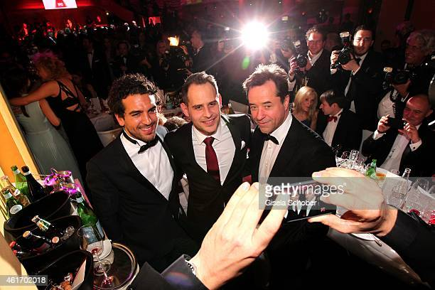Elyas M'Barek Moritz Bleibtreu Jan Josef Liefers during the German Filmball 2015 at Hotel Bayerischer Hof on January 17 2015 in Munich Germany