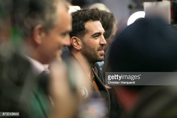 Elyas M'Barek talks to the media as he attends the 'Paddington 2' premiere at Zoo Palast on November 12 2017 in Berlin Germany