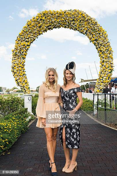 Elyse Knowles and Rachel Griffiths pose during Golden Slipper Day at Rosehill Gardens on March 19 2016 in Sydney Australia