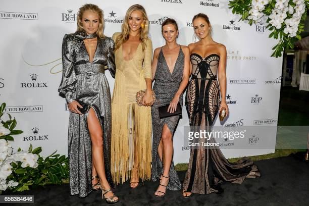 Elyse Knowles Brooke Hogan Britt Davis and Steph Claire Smith attends the 'Glamour on the Grid' Grand Prix party on March 22 2017 in Melbourne...