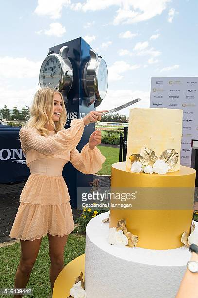 Elyse Knowles cuts the 60th birthday cake during Golden Slipper Day at Rosehill Gardens on March 19 2016 in Sydney Australia