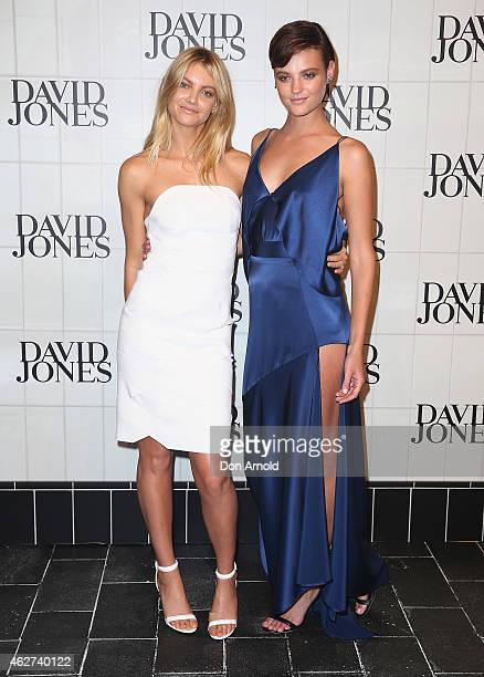 Elyse Taylor and Montana Cox arrive at the David Jones Autumn/Winter 2015 Collection Launch at David Jones Elizabeth Street Store on February 4 2015...