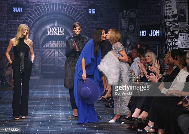 Elyse Taylor and Montana Cox look on as Jessica Gomes congratulates Carla Zampatti at the David Jones Autumn/Winter 2015 Collection Launch at David...