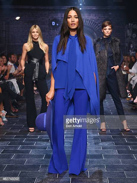 Elyse Taylor Jessica Gomes and Montana Cox showcase designs by Carla Zampatti at the David Jones Autumn/Winter 2015 Collection Launch at David Jones...
