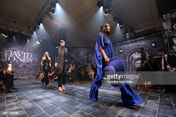 Elyse Taylor Jessica Gomes and Montana Cox showcases designs by Carla Zampatti at the David Jones Autumn/Winter 2015 Collection Launch at David Jones...