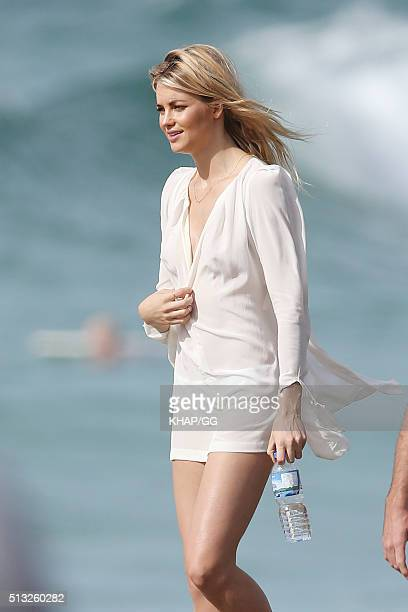 Elyse Taylor models for a David Jones shoot on Tamarama beach on March 2 2016 in Sydney Australia