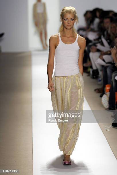Elyse Taylor wearing Atil Kutoglu Spring 2006 during Olympus Fashion Week Spring 2006 Atil Kutoglu Runway at Bryant Park in New York City New York...