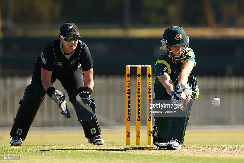 Elyse Villani of Australia (R) bats during the Women's International Twenty20 match between the Australian Southern Stars and New Zealand at Junction Oval on January 24, 2013 in Melbourne, Australia.
