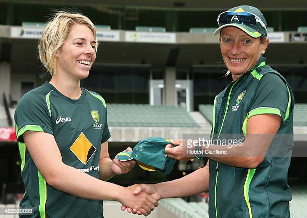 Elyse Villani of Australia is congratulated by coach Cathryn Fitzpatrick after she received her cap prior to game one of the women's One Day...