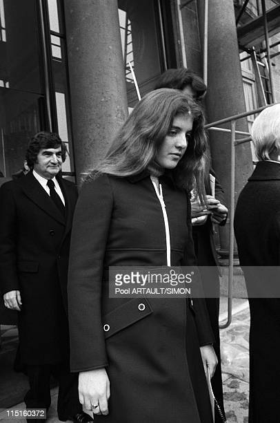 Elysee Caroline and JohnJohn Kennedy at the Elysees Palace in Paris France on March 21 1975 Pierre Salinger Caroline Kennedy