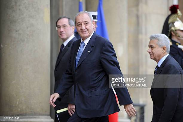 Elysee General Secretary Claude Gueant is pictured with Lebanese national Assembly President Nabih Berri upon arrival at the presidential Elysee...