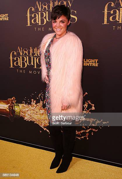 Em Rusciano arrives ahead of the Absolutely Fabulous The Movie Melbourne premiere at Village Cinemas Crown on August 2 2016 in Melbourne Australia