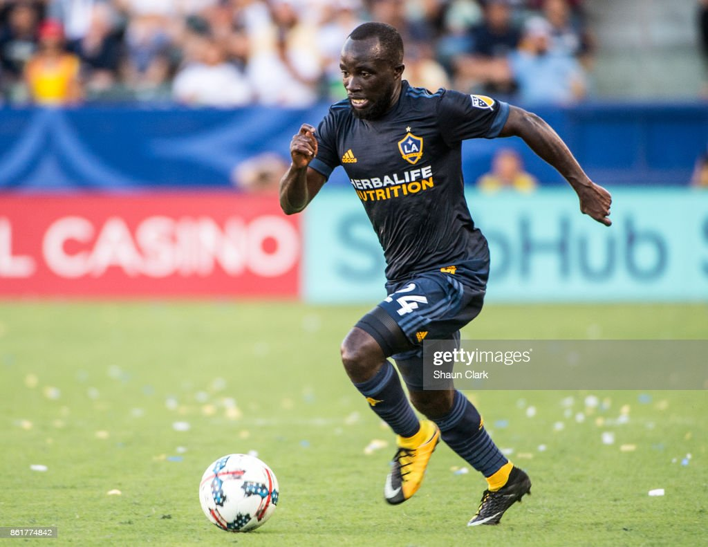 Ema Boateng #24 of Los Angeles Galaxy during the Los Angeles Galaxy's MLS match against Minnesota United at the StubHub Center on October 15, 2017 in Carson, California. Los Angeles Galaxy won the match 3-0