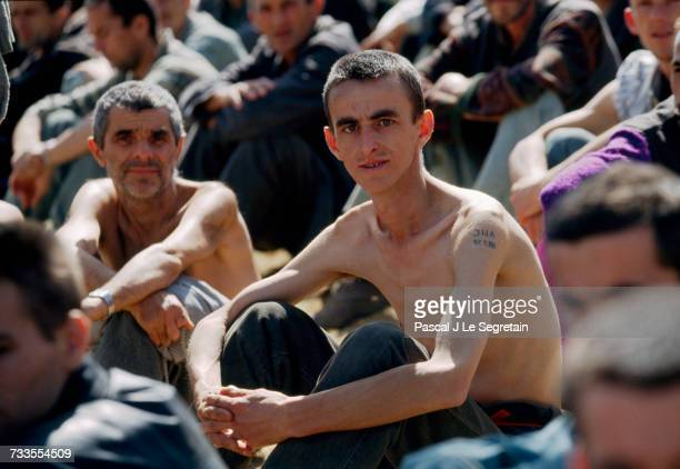Emaciated Bosnian prisoners of war are detained at the Manjaca concentration camp during the Yugoslavian Civil War The Serb camp which detained...