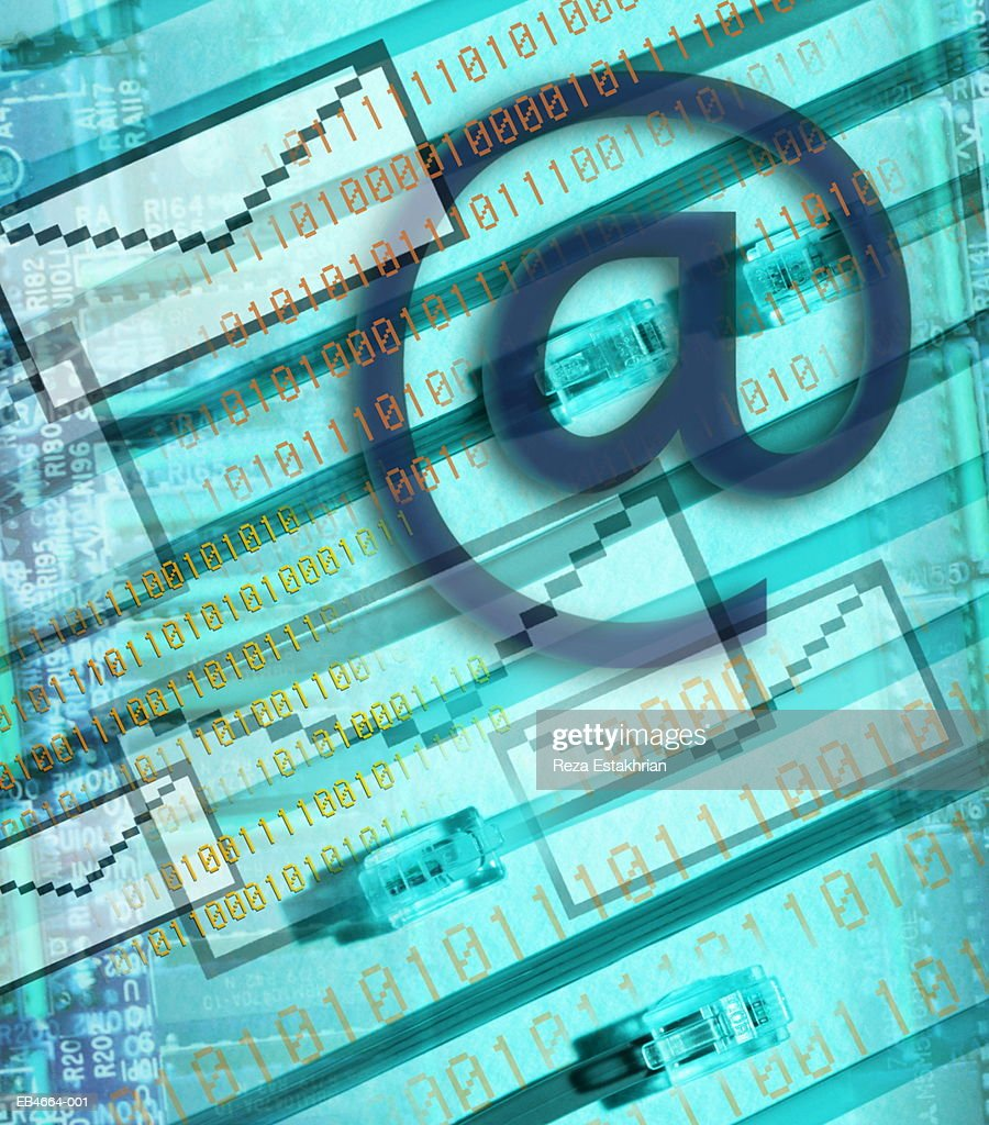 E-mail icons and binary numbers (Digital Composite) : Stock Photo