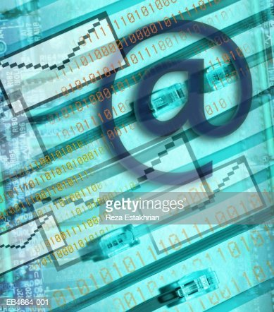E-mail icons and binary numbers (Digital Composite) : Foto de stock