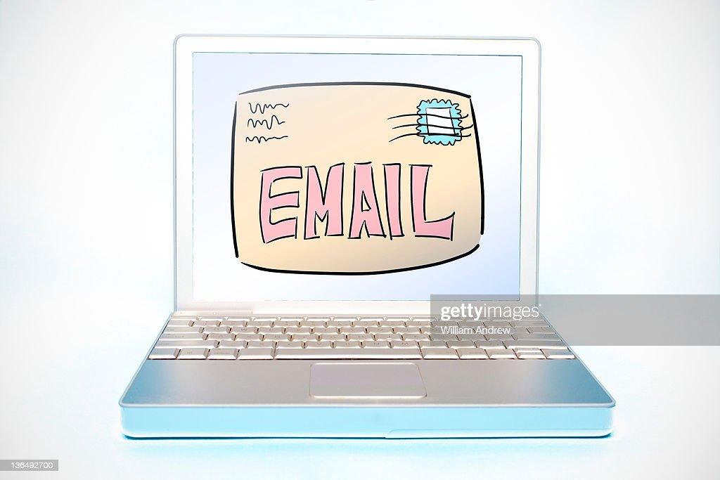 Email illustration on laptop computer : Stock Photo