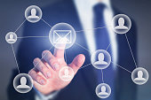 email marketing or business communication concept on touch screen