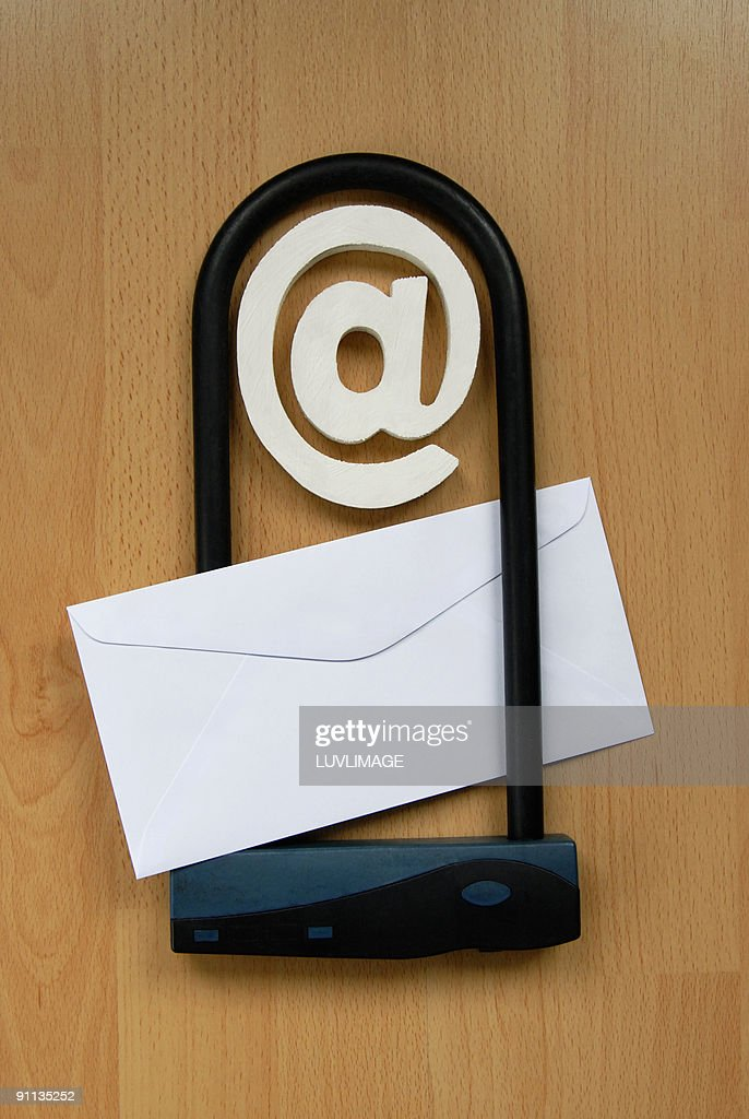 emailsymbol in lock with paper envelop. : Stock Photo